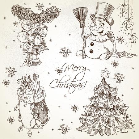 Joyeux Noël tirage croquis cru mis en Vecteurs