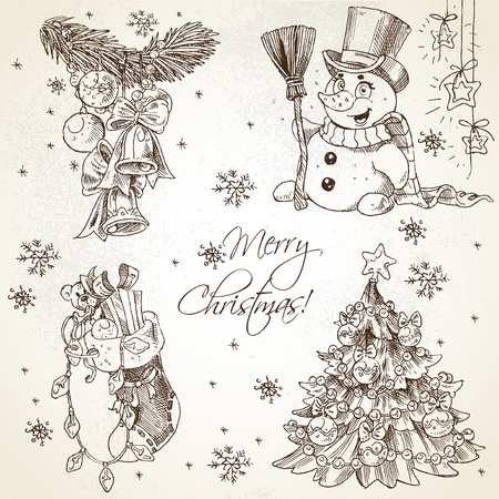Merry Christmas vintage sketch draw set Stock Vector - 16801269