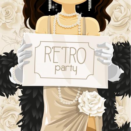 flapper: Cartel de la fiesta retro en manos de la mujer hermosa Vectores