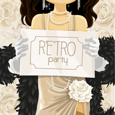 Retro party poster in hands of beautiful woman Vector