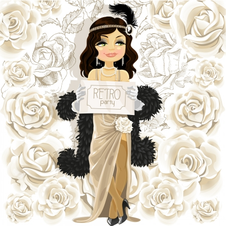 30s: Cute woman with Retro party poster on white flowers background