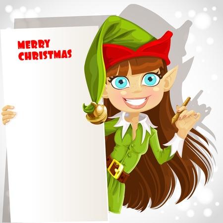 elfos navideÑos: Linda chica del duende de la Navidad con una bandera para su felicitación preparado para grabación