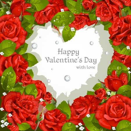 holiday celebrations: Valentine s Day card with red roses and diamonds Illustration
