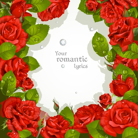 mildew: Frame from red roses with a field for your text