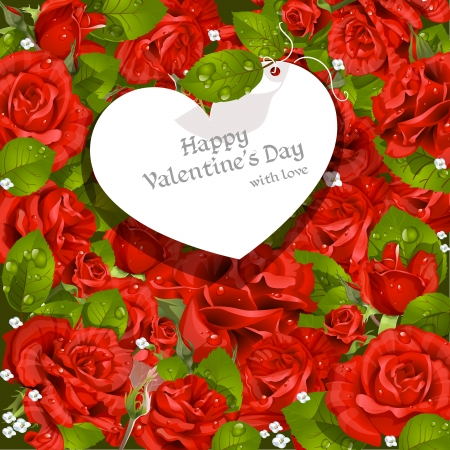 mildew: Valentine s Day card  red roses background Illustration
