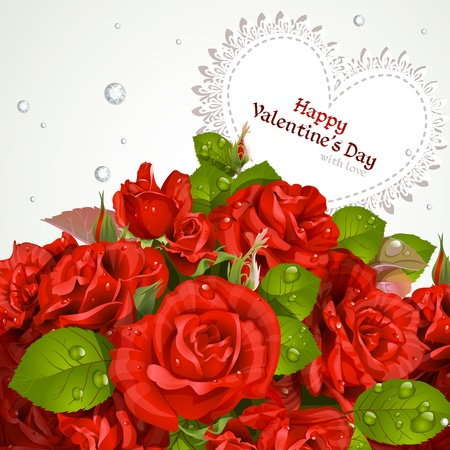 Bouquet of red roses with a happy Valentine s day card Vector