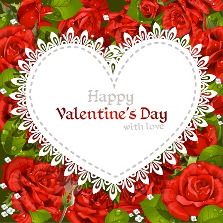 mildew: Happy Valentine s Day card  on red roses background
