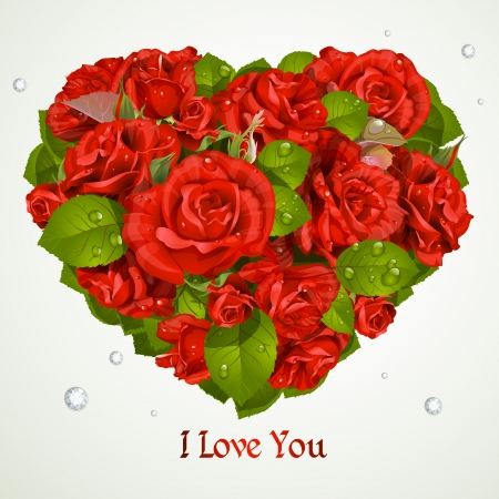 Heart fromf red roses Valentine`s day card Vector