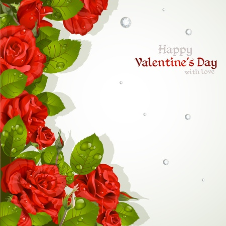 mildew: Valentine`s day card with red roses with a field for your text Illustration