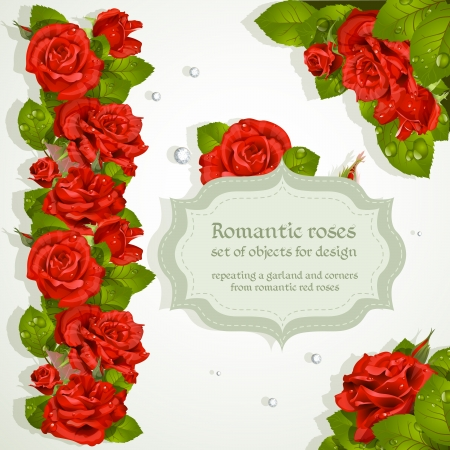Corners and repeating a garland for design from red romantic roses Vector
