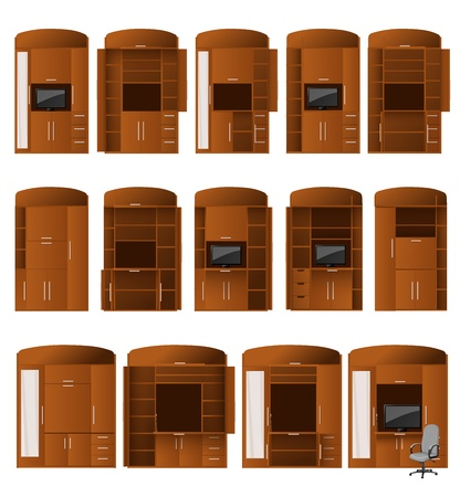 old wooden door: Collection of cabinets bureaus of different configurations for convenient work and storage Illustration