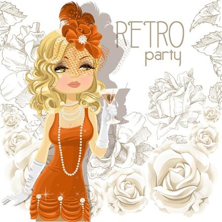 flapper: Mujer linda con el cubilete en la tarjeta de fiesta Retro Vectores