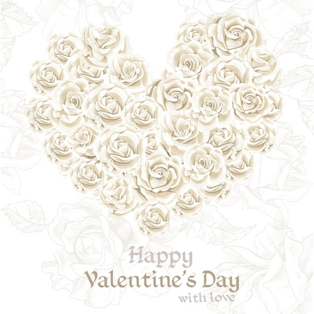 mildew: Happy Valentine`s day retro banner with white roses in heart shape Illustration