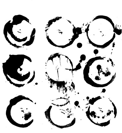 sumi: Abstract round prints strokes and splashes of ink