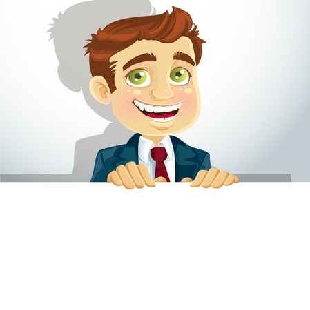 good looking man: Businessman with horisontal big blank poster for your text Illustration