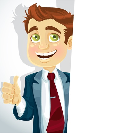 Cute businessman showsis ok and big white banner Stock Vector - 16916107