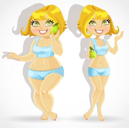 Meisje dik om een dieet en sport activiteiten en dun na Vector Illustratie