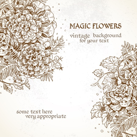 Magick flowers vintage background Vector