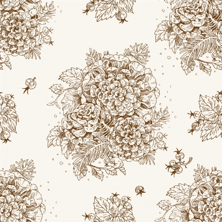 Seamless vintage decorative ornament of stylized flowers and berries Vector