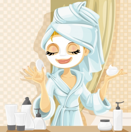 skincare facial: Cute girl with a cosmetic mask on her face in the bathroom