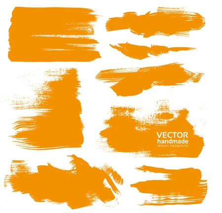 brush in: Hand-drawing orange textures of brush strokes in random shape Illustration