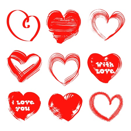Valentines day abstract handdrawn by brush heart Vector