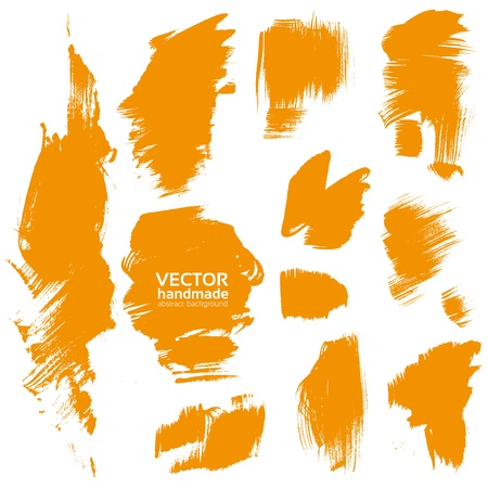 Vector handmade by brush orange paint texture Stock Vector - 17050817
