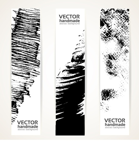 Vertical abstract handdrawing by black ink banner set Stock Vector - 17050819
