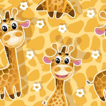 jirafa caricatura: Fondo inconsútil con las jirafas bebés