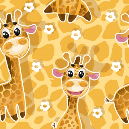Seamless background with babies giraffes Vector