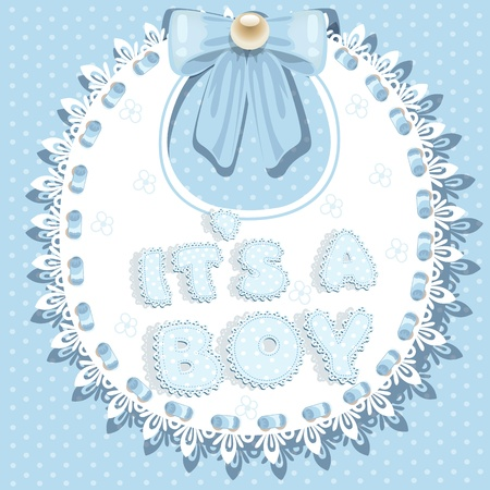it`s a boy baby shower on bib Vector