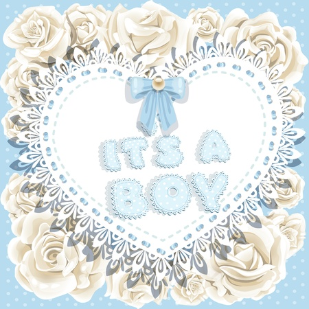it`s a boy baby shower on heart and roses background Stock Vector - 17102263