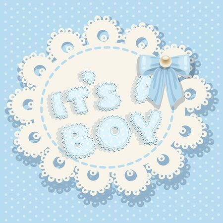 it`s a boy blue baby shower with openwork background and bow Vector