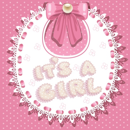 hanging girl: it`s a girl baby shower on pink bib