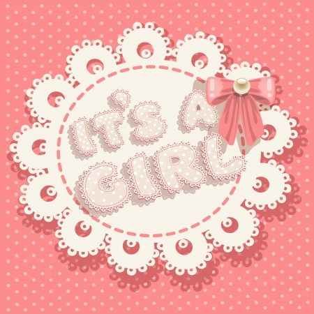 hanging girl: it`s a girl pink baby shower with openwork background and bow