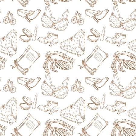 panties: Seamless pattern of female subjects - underwear, cosmetics, shoes