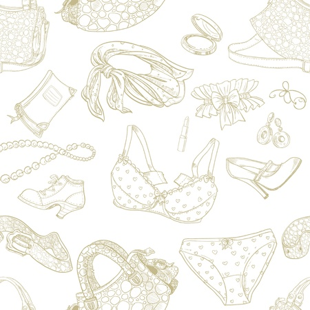 Seamless pattern of female subjects - underwear, cosmetics, shoes and bags Vector