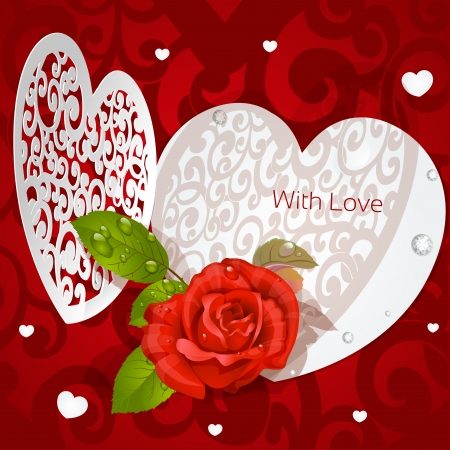 Delicate Valentine applique with red rose Stock Vector - 17123026