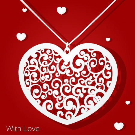 Openwork heart applique paper on red background Stock Vector - 17123020