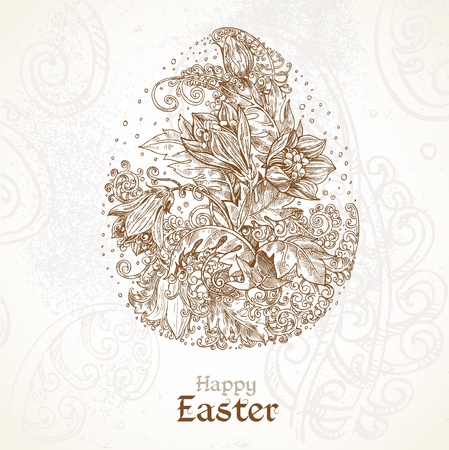 fabulous: Happy Easter vintage background with delicate egg of the fabulous flowers