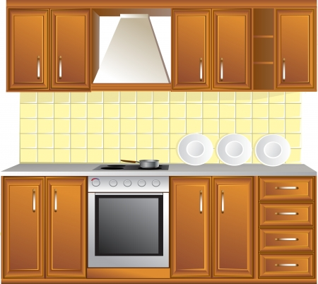 kitchen cabinet: Light kitchen isolated on white background Illustration