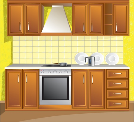 stainless steel kitchen: Light kitchen Illustration