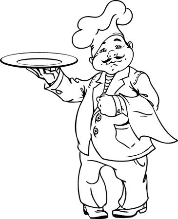 chubby: cute Italian chef with an dish in black and white for coloring
