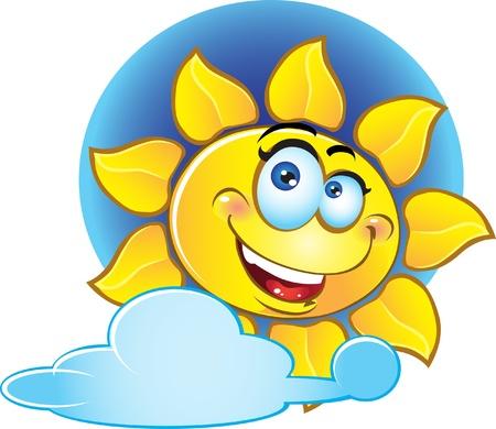 sorridente sole giallo Vettoriali
