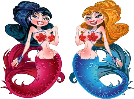 jewlery: Brunette and Blond mermaids with pink and blue scales Illustration