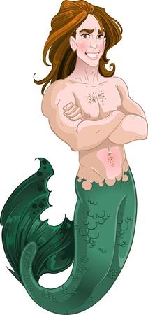 male nude: Mermaid ragazzo Vettoriali