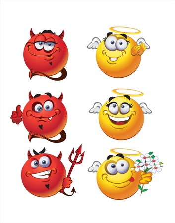 Angel and Devil round smiles Vector