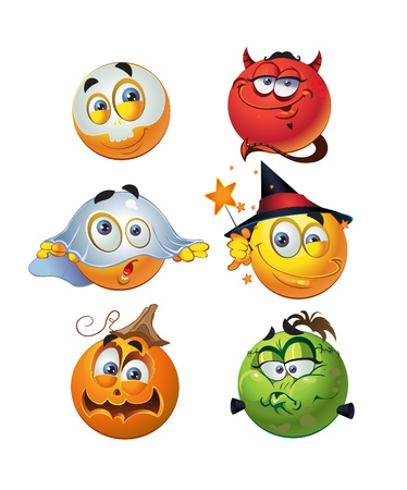 Halloween round smiles  Vector