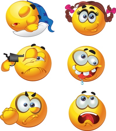 round emotion smiles selfkiller sleepy girl crazy Vector