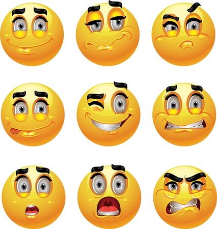 gestos de la cara: Conjunto de lote de 9 sonrisas emoci�n